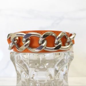 Maurice's Orange faux leather with chain bracelet